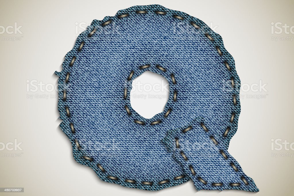 Denim letter Q royalty-free stock vector art