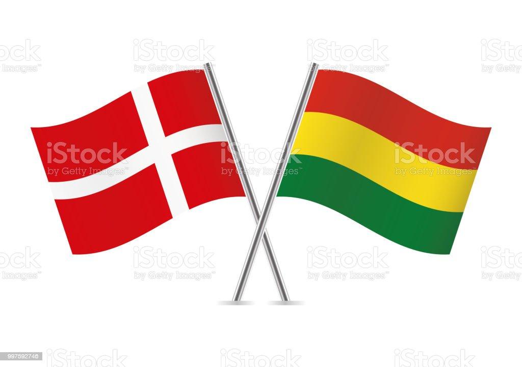 Banderas de Dinamarca y Bolivia. Ilustración de vector. - ilustración de arte vectorial