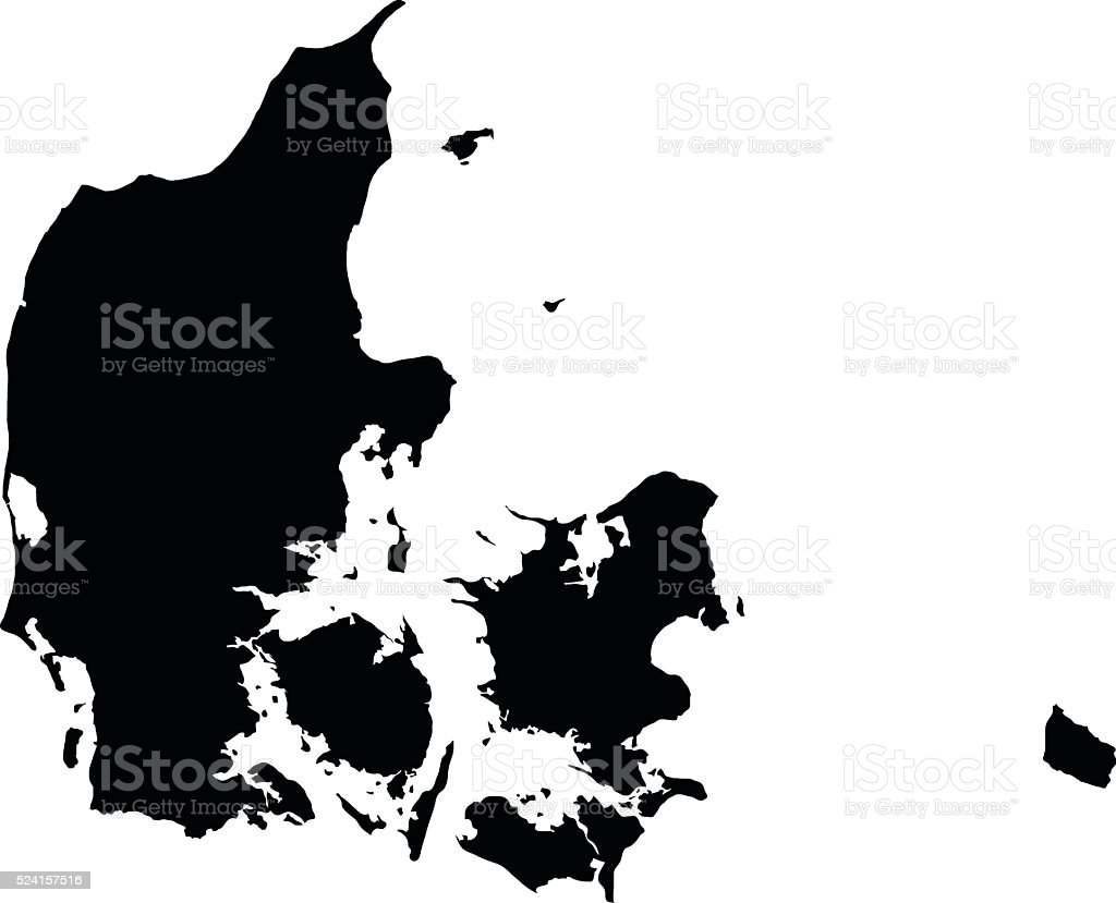 Denmark black map on white background vector vector art illustration