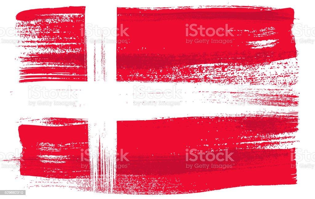 Denmark colorful brush strokes painted flag vector art illustration