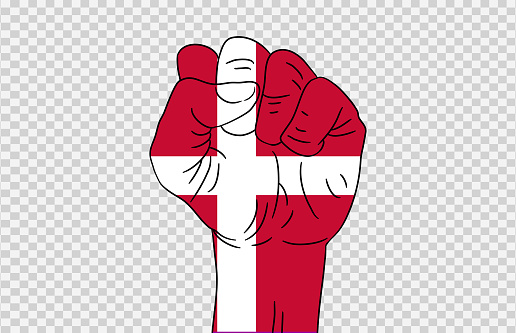 Denmark flag colored hand isolated on png or transparent  background, Symbols of Denmark template for banner,card,advertising ,promote,magazine,vector,top gold medal winner sport country