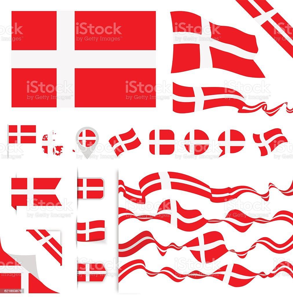 Denmark Flag Set vector art illustration