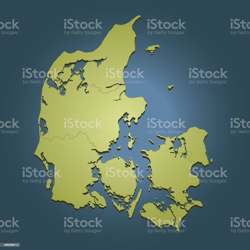 Denmark green travel map on dark blue background vector art illustration