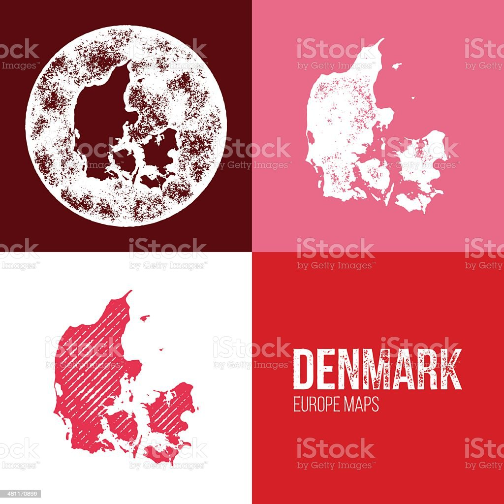 Denmark Grunge Retro Map vector art illustration