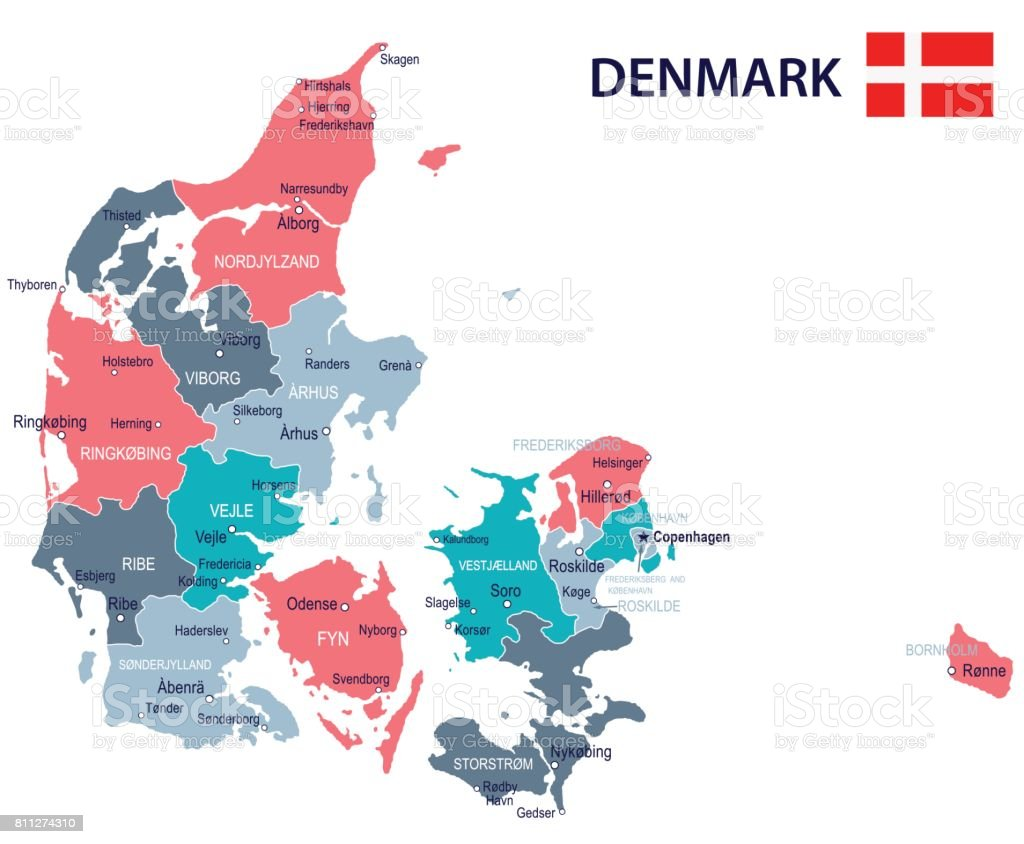15 Denmark Map Green Pink Gray 10 Stock Vector Art & More Images of ...