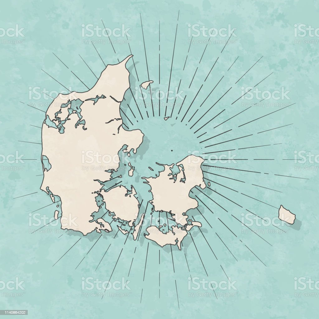 Map of Denmark in a trendy vintage style. Beautiful retro...