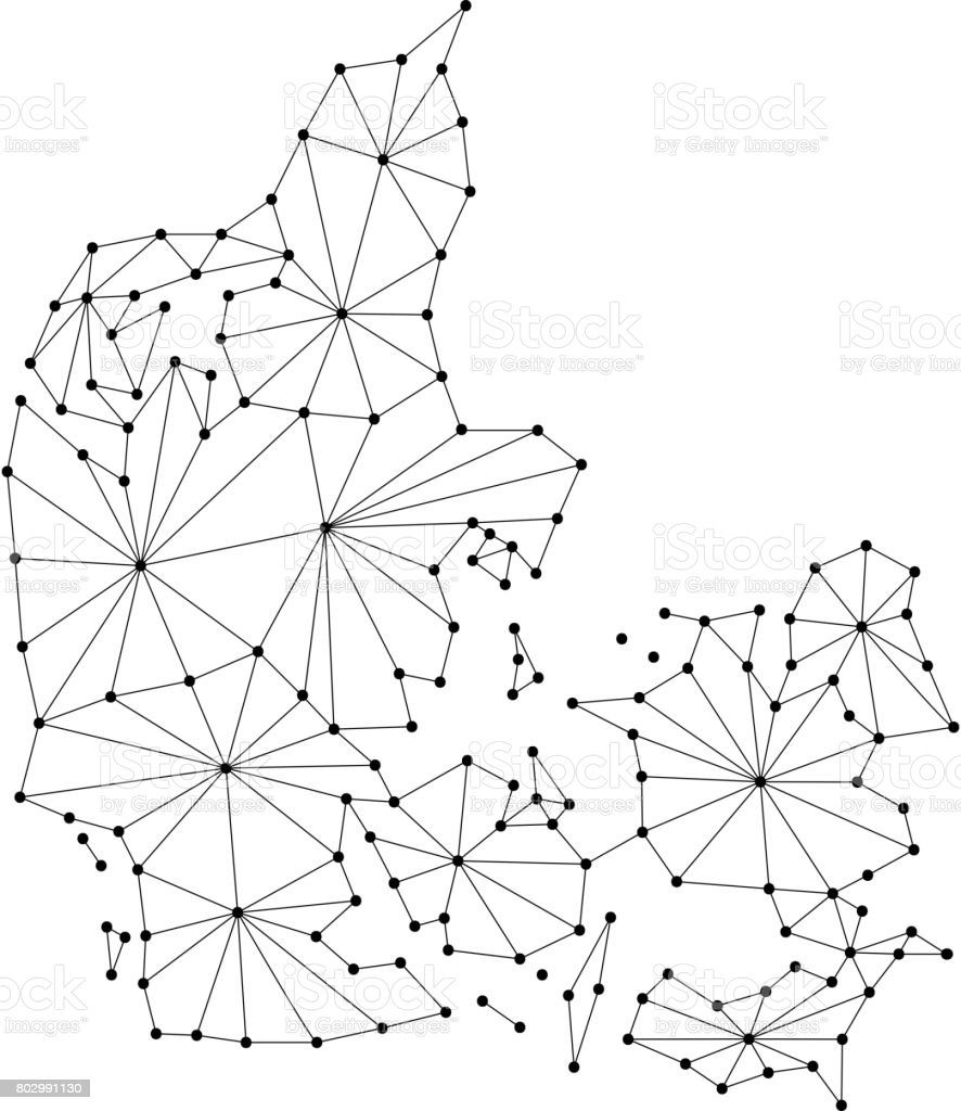 denmark map of polygonal mosaic lines rays and dots vector