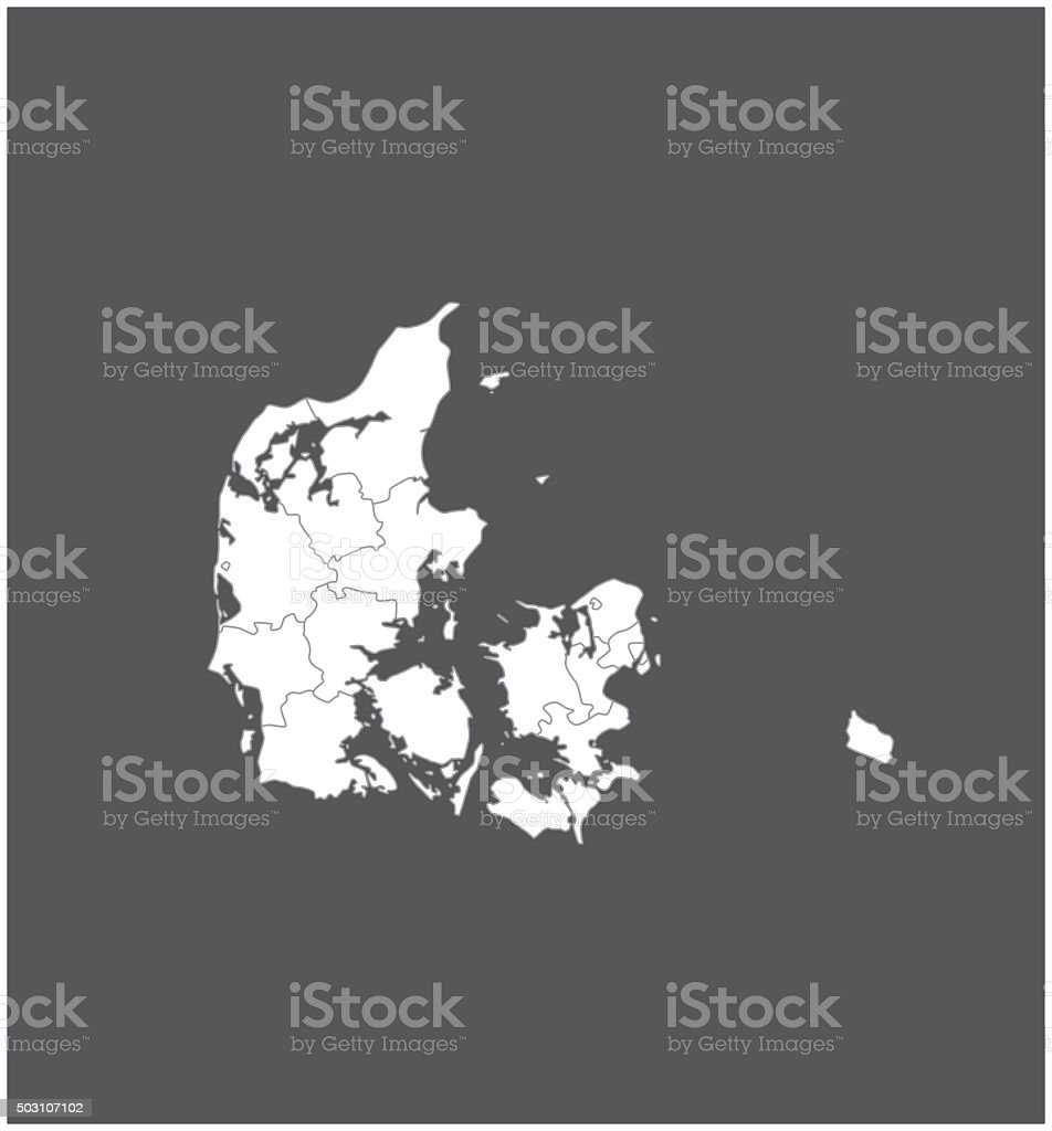 Denmark map outline vector in gray background vector art illustration