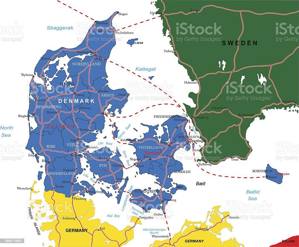 Denmark Map Stock Illustration Download Image Now Istock