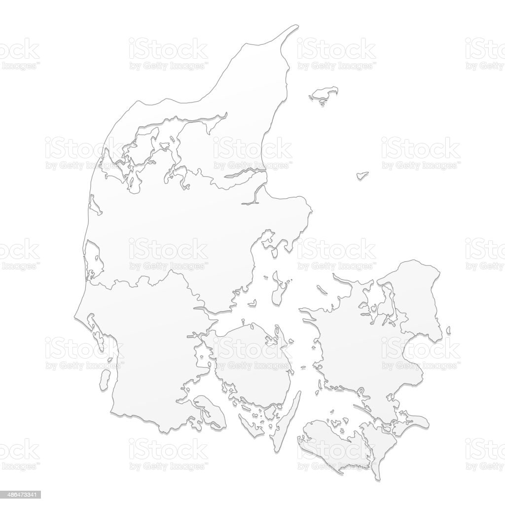 Denmark map white vector art illustration