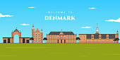 istock Denmark panoramic view landscape. Aerial skyline in Copenhagen, Denmark. World vacation travel Europe European collection. Illustrated collection of famous landmark in Denmark 1281754741