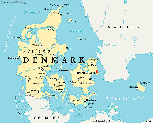 dänemark politische karte - ostsee stock-grafiken, -clipart, -cartoons und -symbole