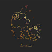 Denmark region map: golden gradient outline on dark background.
