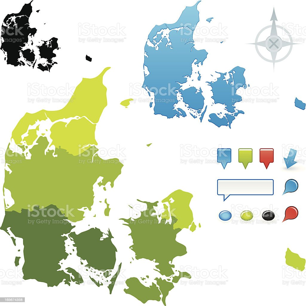 Denmark regional map vector art illustration