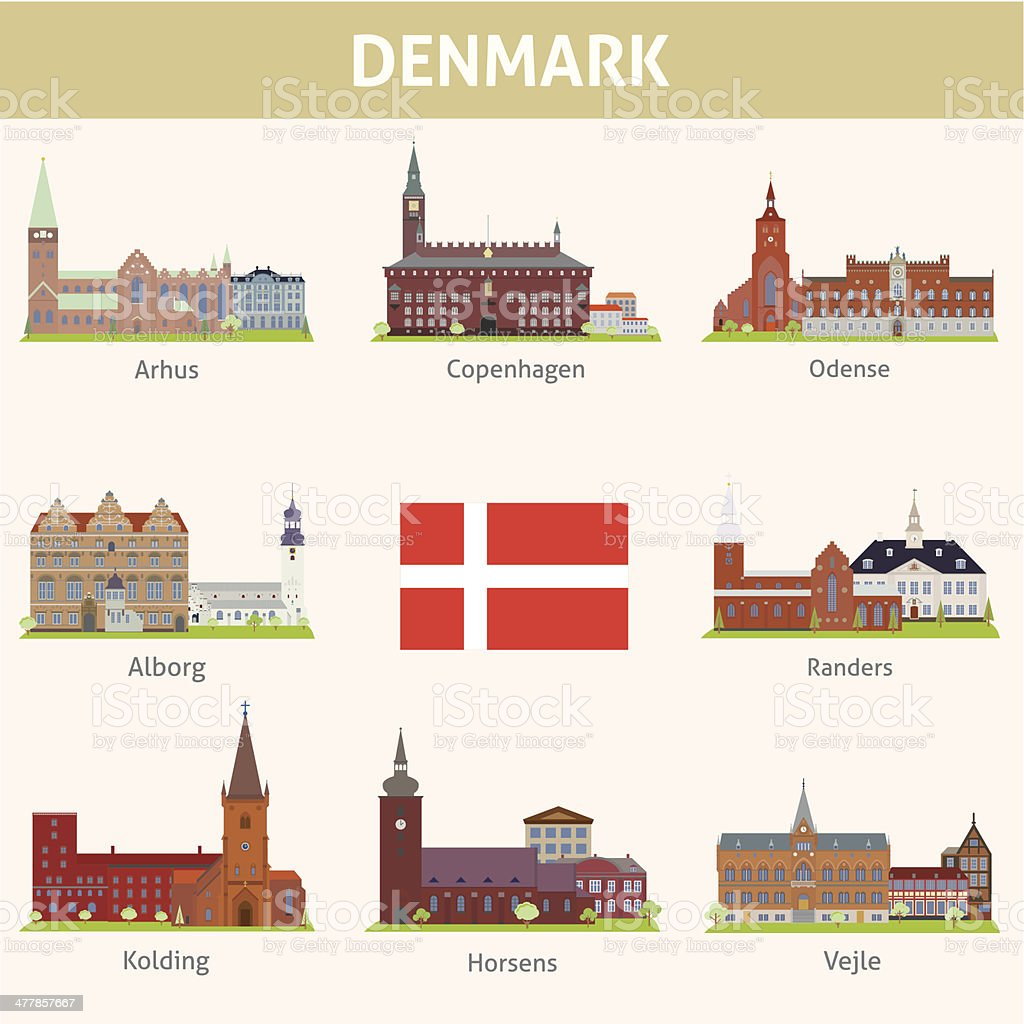 Denmark. Symbols of cities vector art illustration
