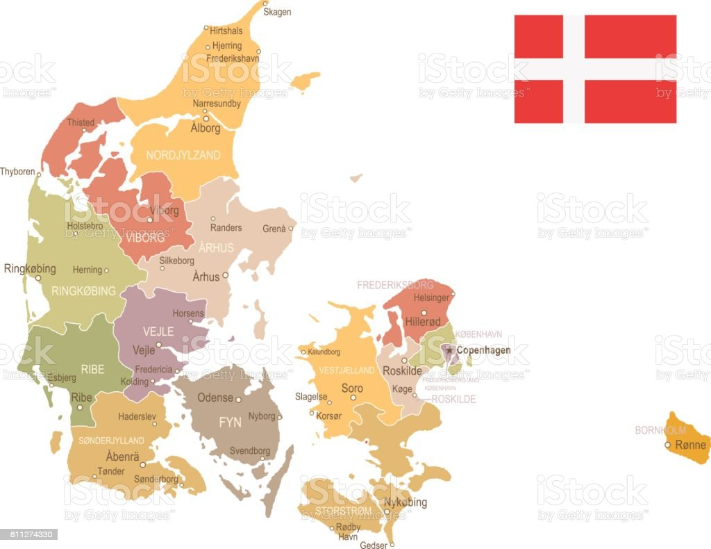 Denmark Vintage Map And Flag Illustration Stock Vector Art & More ...