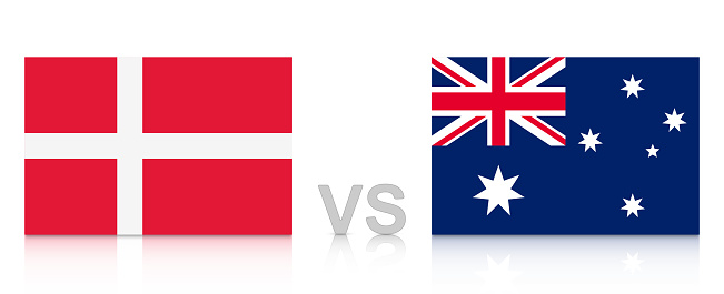 Denmark vs. Australia. Russia 2018. National flags with reflection isolated on white background.