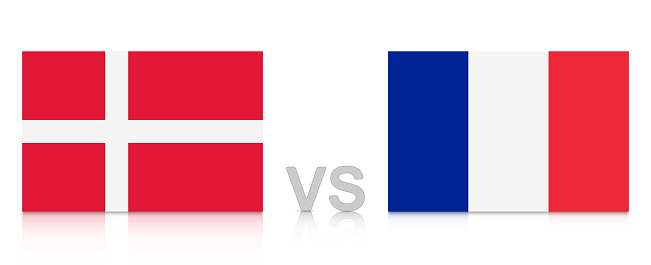 Denmark vs. France. Russia 2018. National flags with reflection isolated on white background.