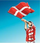 Denmark Waving Flag Soccer Fan
