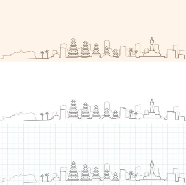 denpasar hand gezogen skyline - denpasar stock-grafiken, -clipart, -cartoons und -symbole