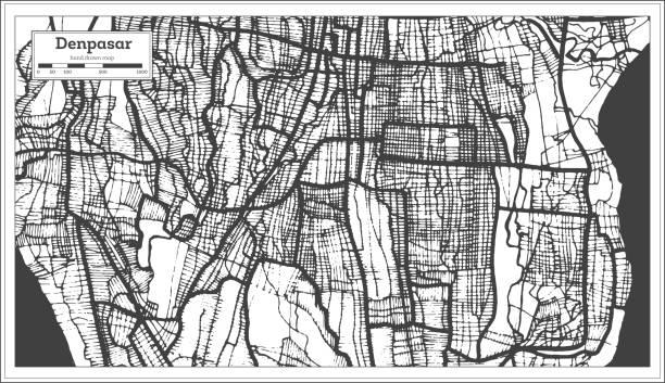 denpasar indonesien stadtplan in schwarz und weiß farbe. gliederungskarte. - denpasar stock-grafiken, -clipart, -cartoons und -symbole