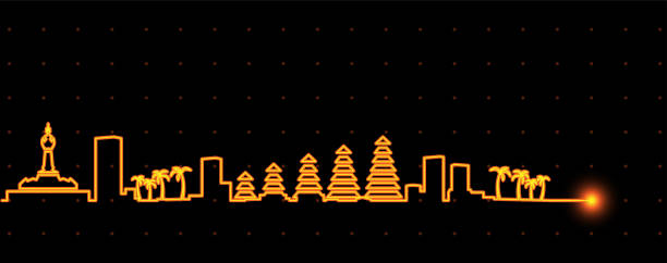 denpasar licht streifen skyline - denpasar stock-grafiken, -clipart, -cartoons und -symbole