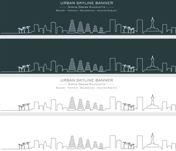 denpasar single line skyline banner - denpasar stock-grafiken, -clipart, -cartoons und -symbole