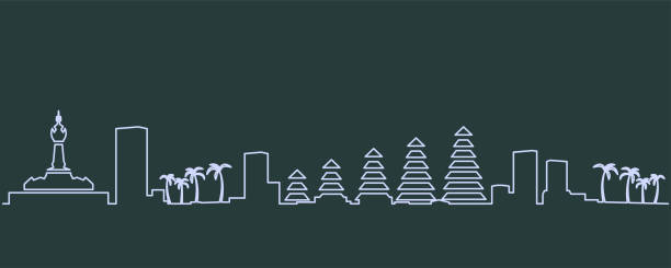 denpasar single line skyline - denpasar stock-grafiken, -clipart, -cartoons und -symbole