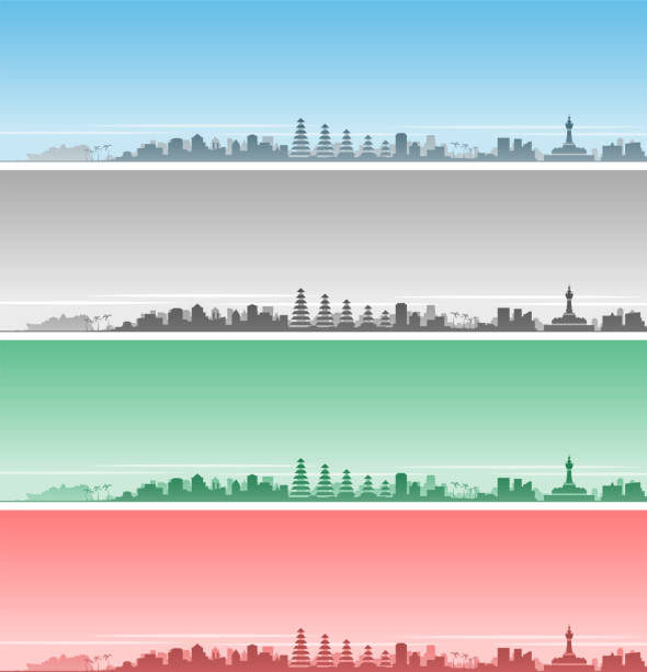 denpasar skyline event banner - denpasar stock-grafiken, -clipart, -cartoons und -symbole