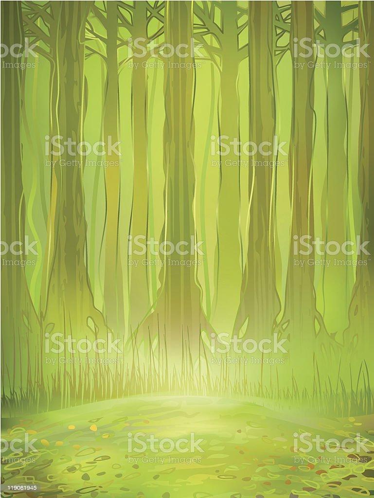Dense green rainforest vector art illustration