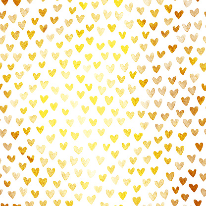 Densely arranged uneven irregular small hearts in shades of gold - abstract love paper pattern with tiny isolated objects on white background - hand painted illustration in vector - unique shimmering gold