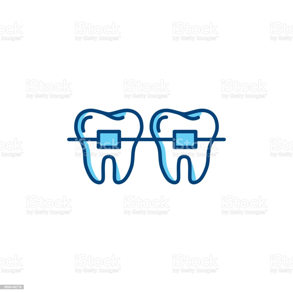 Dental braces icon, orthodontic teeth line icons. Vector thin line art design vector art illustration