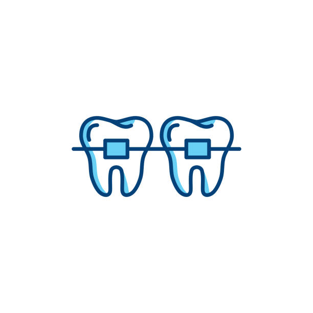 dental braces icon, orthodontic teeth line icons. vector thin line art design - orthodontist stock illustrations, clip art, cartoons, & icons
