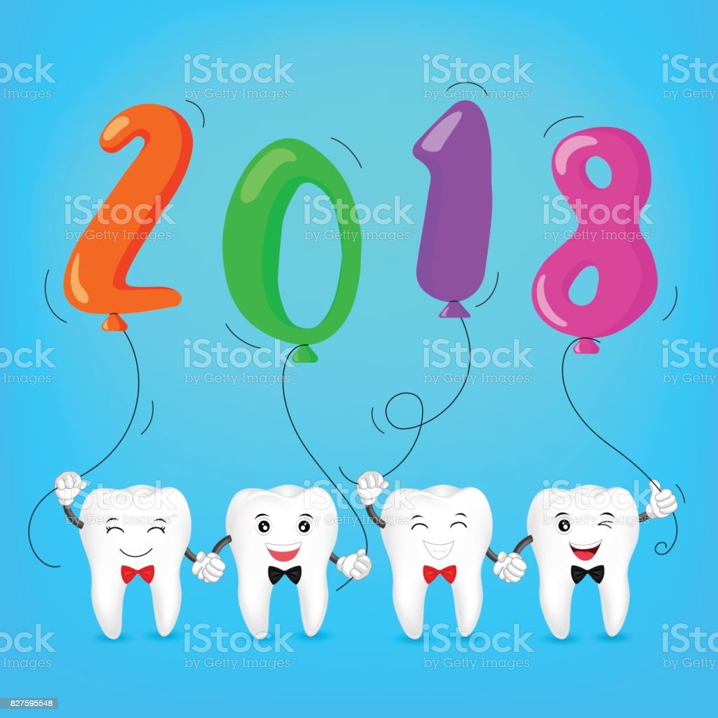 happy new year 2018 with cute cartoon tooth family royalty free
