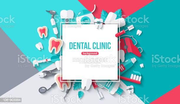 Dental Kort Med Fyrkantig Ram-vektorgrafik och fler bilder på Affisch