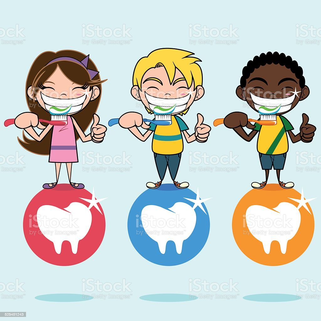 Dental care and health, children vector art illustration