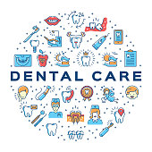 Dental care circle infographics Stomatology icon. Colorful dentistry thin line art icons