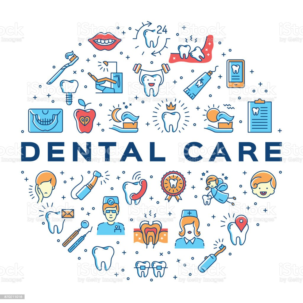 Dental care circle infographics Stomatology icon. Colorful dentistry thin line art icons vector art illustration