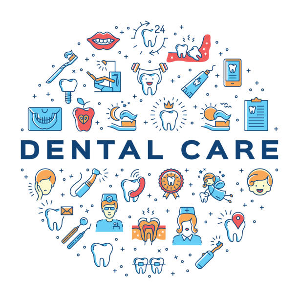 dental care circle infographics stomatology icon. colorful dentistry thin line art icons - toothy smile stock illustrations