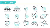 Dental care concept Icon set - Simple Line Series