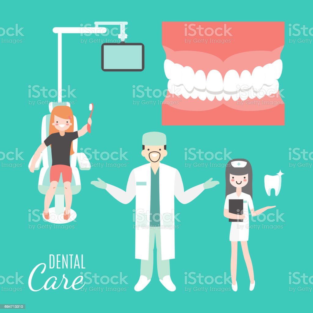 Dental care. Dentist doctor and patient in medical dental clinic. Girl in dentist chair. Vector cartoon people characters in flat style design. Jaw with teeth isolated vector art illustration