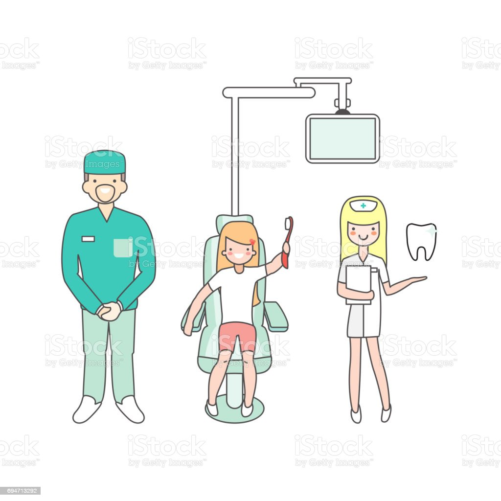 Dental Care Dentist Doctor Nurse And Patient In Medical Clinic Girl