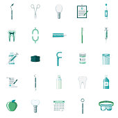 A set of 25 dentist and dental care flat design icons on a transparent background. File is built in the CMYK color space for optimal printing. Color swatches are Global for quick and easy color changes.