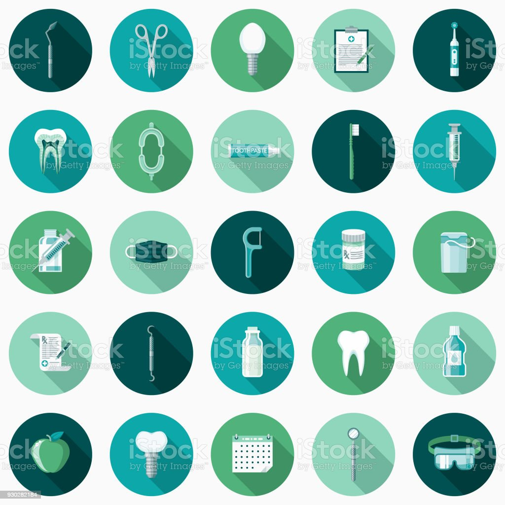 Dental Care Flat Design Icon Set with Side Shadow vector art illustration
