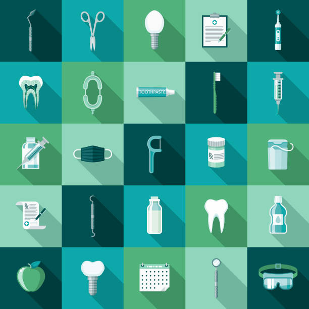 dental care flat design icon set with side shadow - dentist stock illustrations, clip art, cartoons, & icons