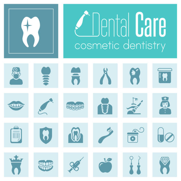 dental care icon set - dentist logos stock illustrations