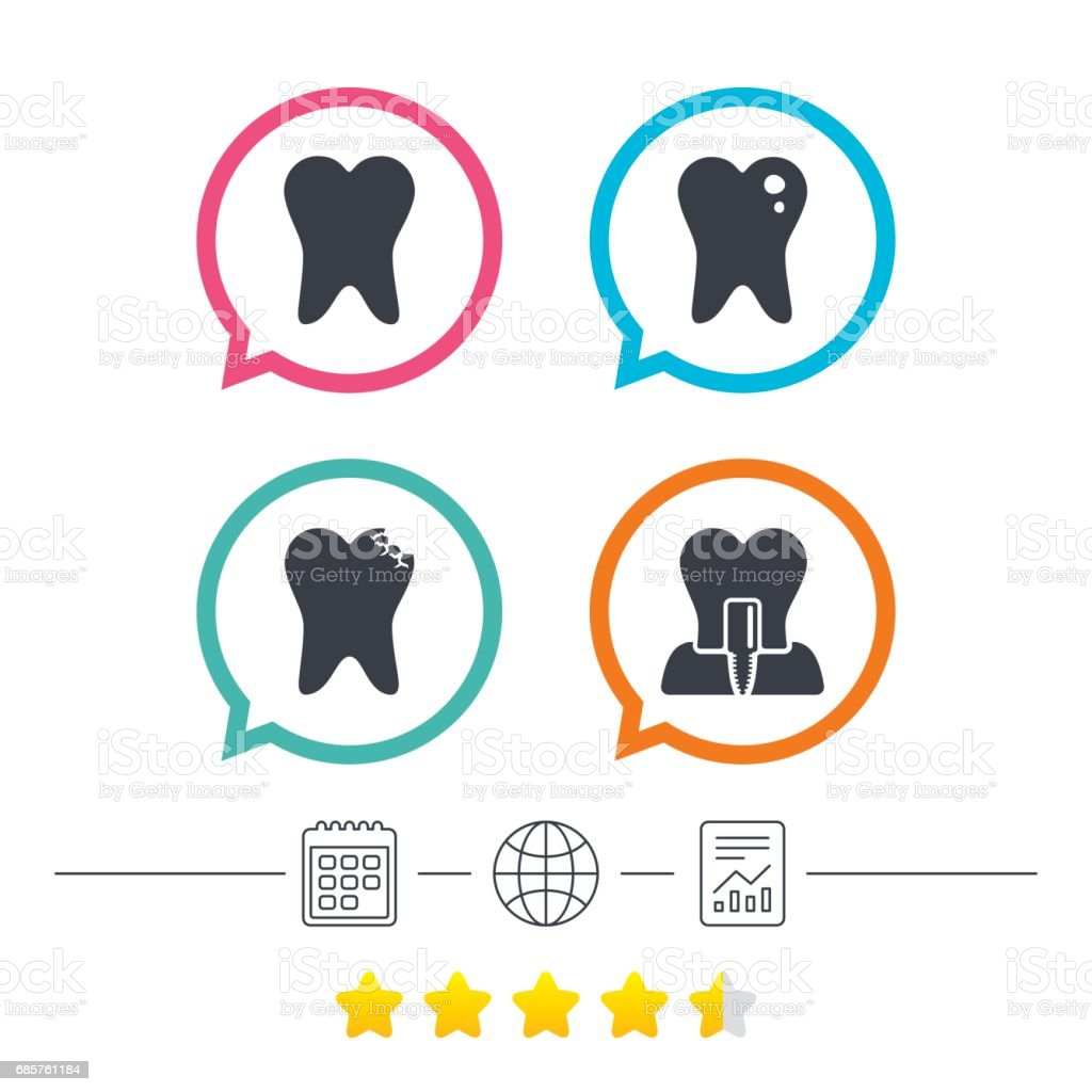 Dental care icons. Caries tooth and implant. dental care icons caries tooth and implant - immagini vettoriali stock e altre immagini di accudire royalty-free