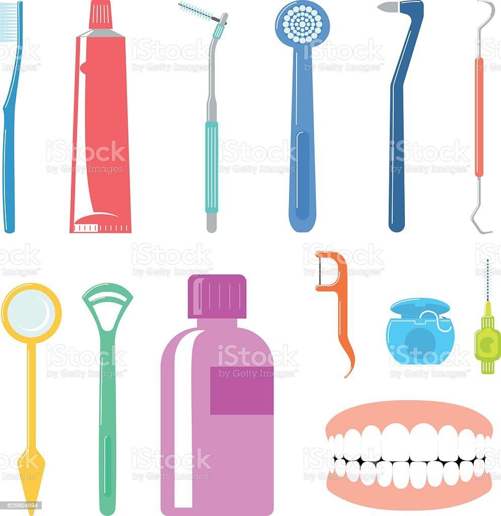 Dental Care Items vector art illustration