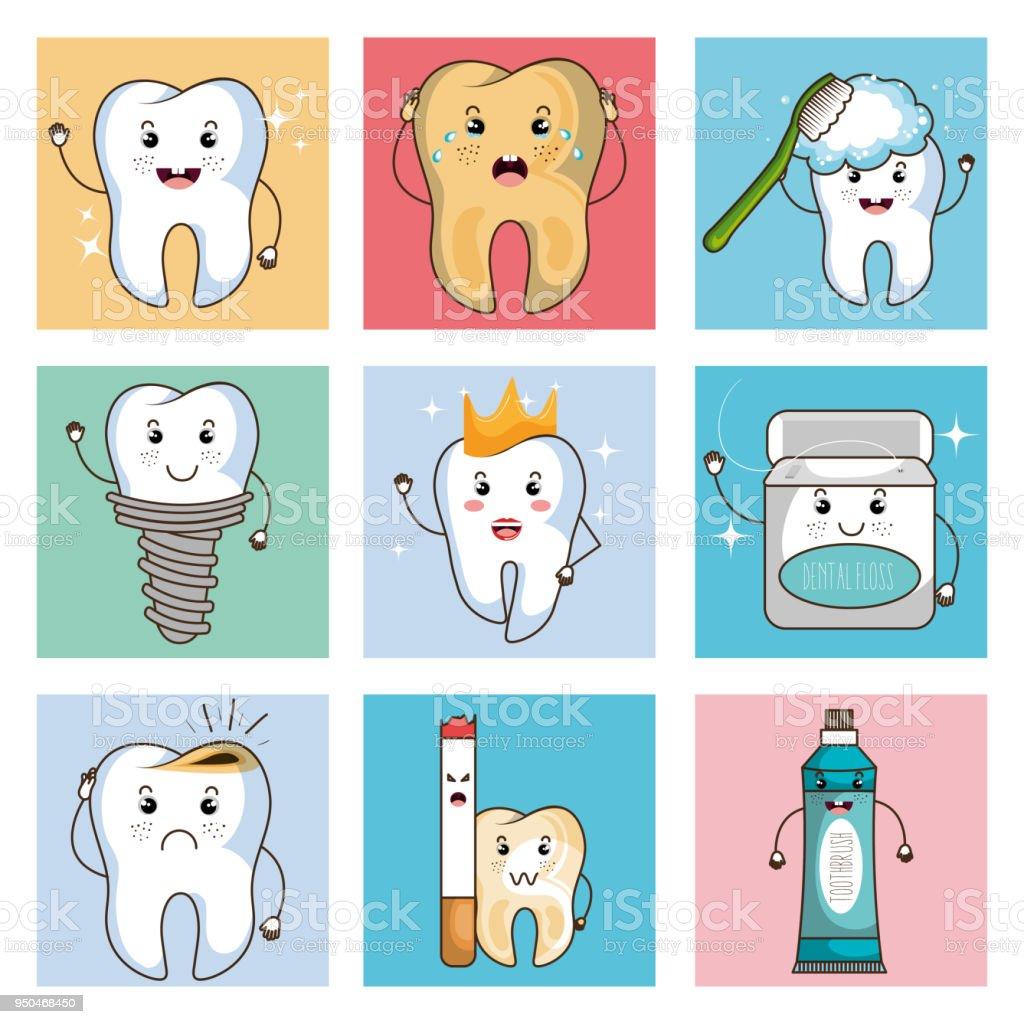 Dental Care Kawaii Comi Character Stock Vector Art & More Images of ...