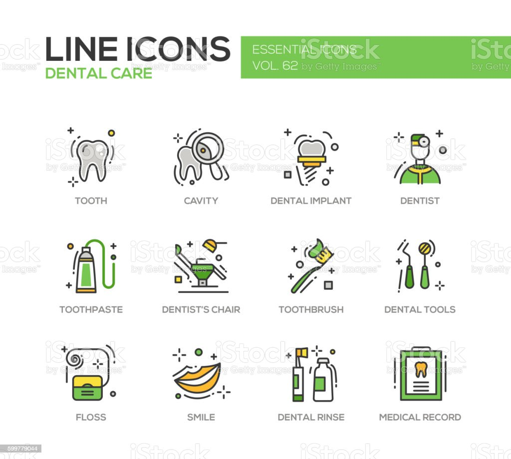Dental Care - line design icons set - ilustración de arte vectorial